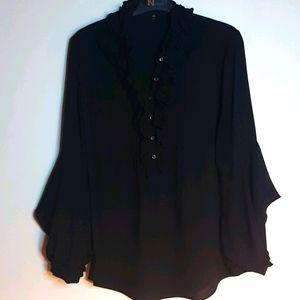 Elie Tahari xs black ruffled  bell sleeve blouse